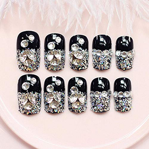 CSCH Faux ongles New Designed Rivets Shattered Artificial Nails 24 Pcs full cover Fake Nails Black with Glue Sticker