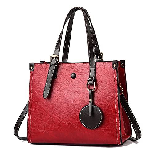 YXLYLL Bolso de Bolso de Bolso de Cuero para Mujer con Bolsillos y Compartimentos D