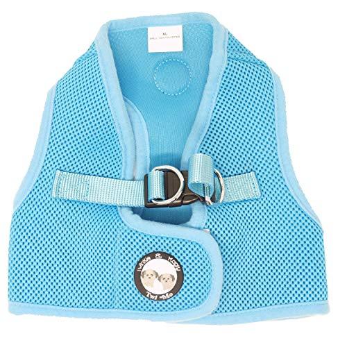 Twinkle & Mogly - Hundegeschirr Softgeschirr Meshgeschirr mit ausbruchssicherem doppelten Verschluss für kleine Hunde Blau Hellblau Babyblau L