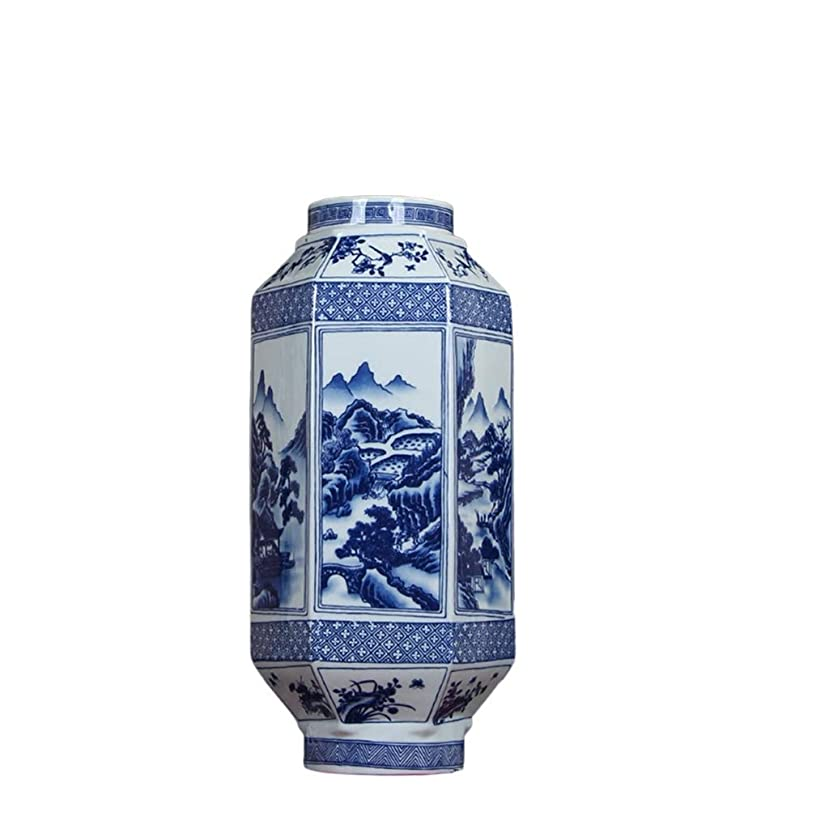 忠誠スケジュール速報中国スタイルの青と白の陶器六角花瓶、デコレーションホームポーチの装飾中国のスタイル (Size : 38cm)