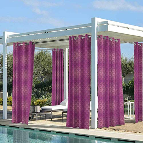 Victorian Thermal Insulated Curtain for Outdoor Pergola/Patio/Balcony Antique Style Scroll Motifs Flowers Pink Shades Classical Pattern Magenta Peach and Purple 76W x 108L Inch