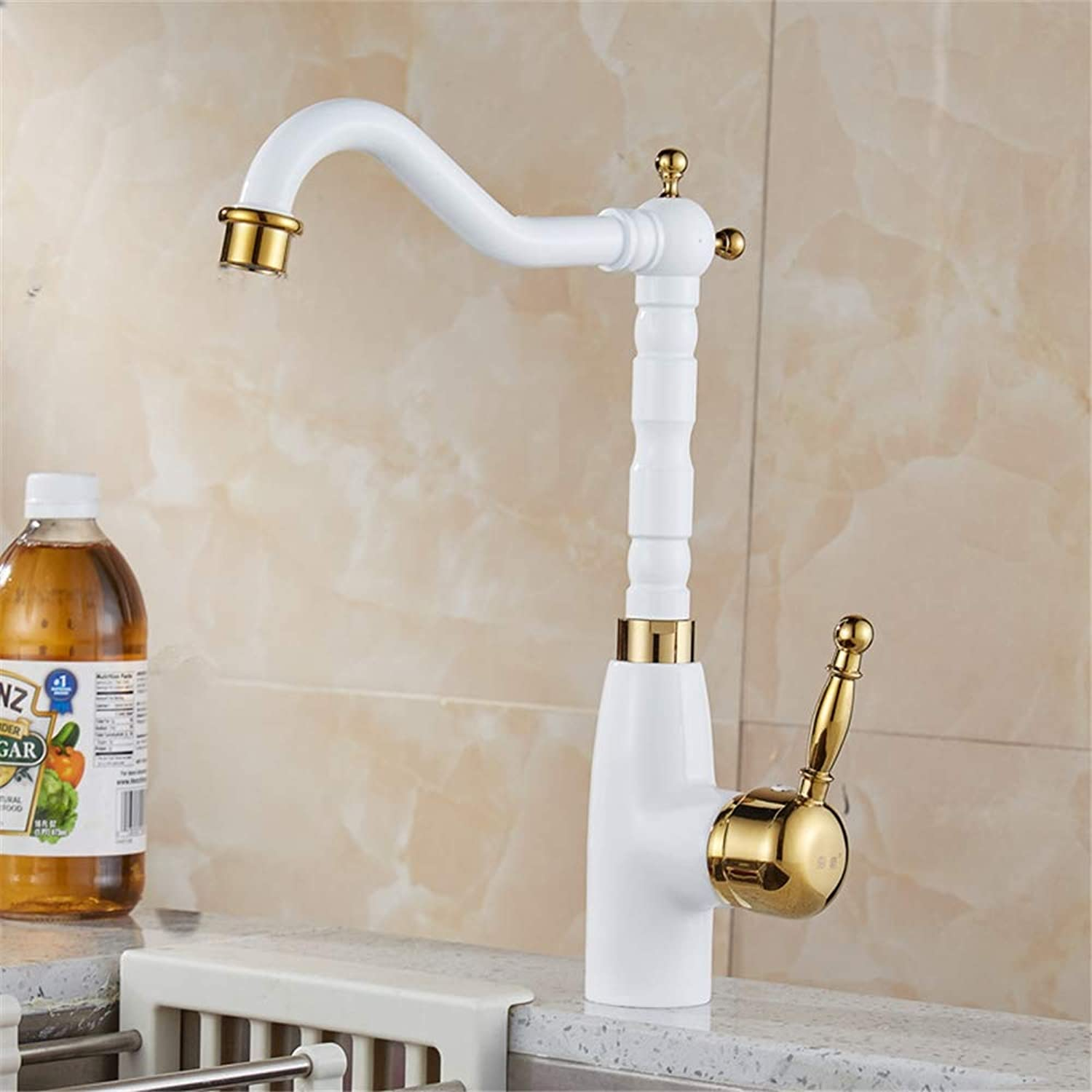 YBHNB Kitchen Sink Taps, European style White paint with gold polish single handle brass Crane Hot and cold mixing Kitchen Faucet
