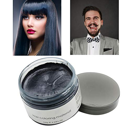 MOFAJANG Hair Color Wax Styling Cream Mud, Temporary Hair Dye Wax, Natural Hairstyle Dye Pomade for Party Cosplay, Halloween, 4.23 OZ,Black