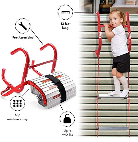 13 Feet Retractable Fire Escape Ladder - Portable Two-Story Emergency Kiddie Safety Window Ladder with Wide Steps, Center Support, Anti-Slip Rungs