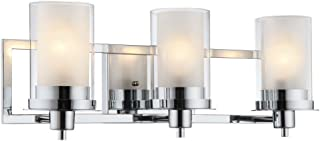 Designers Impressions Juno Polished Chrome 3 Light Wall Sconce/Bathroom Fixture with Clear and Frosted Glass: 73471