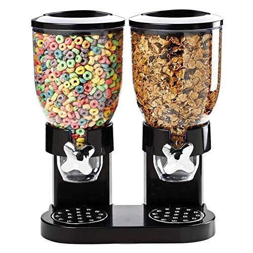 Dispensador de cereal hermético de doble cámara para alimentos secos de doble control, con bandeja de derrames incorporada, para el hogar, la cocina, las encimeras, el desayuno y las mascotas