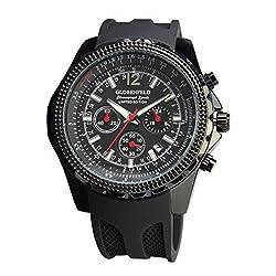 Globenfeld | montre de chronographe pour homme | montre de sport avec chronomètre et aiguilles lumineuses qui Affirment minutes et secondes | robuste et résistant aux rayures en verre