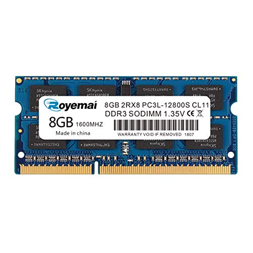 ROYEMAI PC3-12800 DDR3 1600Mhz 8GB 2Rx8 1.35V CL11 Non-ECC Notebook RAM Memory Module for Mac Intel and AMD