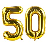 40 Inch Gold 50th Birthday Number Balloons 50 Foil Mylar Balloon for Anniversary Party Decoration
