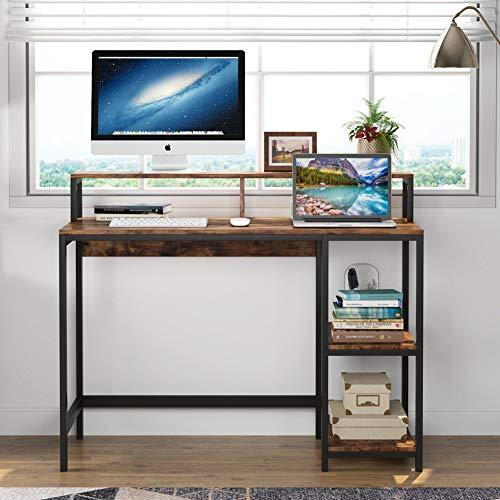 Tribesigns Computer Desk Escritorio Industrial para Estudio, Estaciones de Trabajo para computadora Mesa de Escritorio para PC con Marco de Metal, 2 estantes para Oficina, hogar