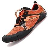 Chaussures de Surf Pieds Nus pour Plage Les Piscine Sports Jogging Aquatique Nautiques Yoga Le Vélo Aquatique Beach-Volley Canoë Ménage la Voile Pêche Conduite Orange, 42 EU