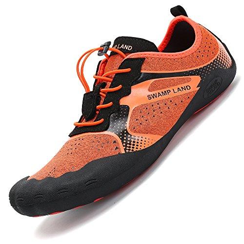 Pastaza Barfußschuhe Damen Herren Atmungsaktiv rutschfest Traillaufschuhe Outdoor Fitnessschuhe,Orange,46