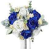 Rinlong Wedding Bouquet for Bride Bridal Bridesmaid Vintage Artificial Flowers Royal Navy Blue Silk Rose Bouquet Home Wedding Decoration