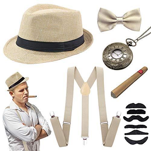 specool 1920s Jahre Herren Accessoires, 20er Gangster Kostüm Rockabilly Mafia Gatsby Flapper kostüm Zubehör Set mit Elastisch Verstellbar Hosenträger schwarz Panama Gangster Hut Zigarre (kaki)