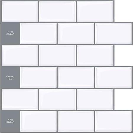 "Upgraded, STICKGOO 10-Sheet Peel and Stick Subway Tile Backsplash, 13""x12"" Self-Adhesive Kitchen Backsplash Tiles, White"