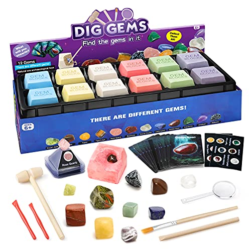 Sillbird Gem Dig Kit with 12 Real Gemstones, Stem Science & Educational Toys Mineral & Rock Excavation Kits with Mining Tools, Rock Collection Archaeology Geology Learning Gifts for Boys and Girls