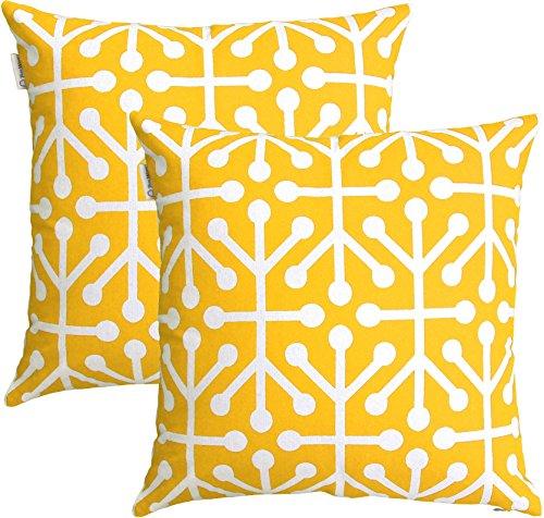 TreeWool - Pack de 2 - Octaline Decorativo fundas de cojín, 100% algodón (50 x 50 cm / 20 x 20 pulgadas; Amarillo)