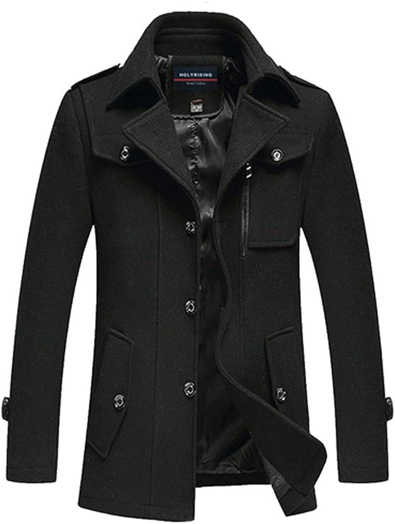 Wool Blend Coat Men Casual Casaca Hombre Mens Overcoat Thick Jackets Warm Classic Cloth Man Fitted Coats 18259-5