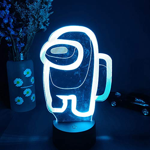 Ginkago 3D Illusion LED Lampe Nacht Licht Light 16 Colors Amongs The Us Theme Character Crewmate LED Atmosphere Night Light