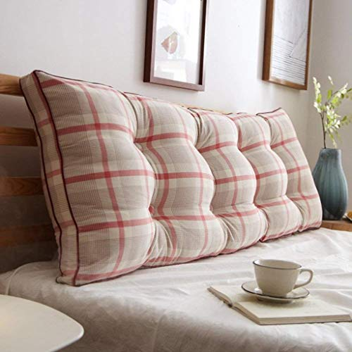 AFQHJ Afneembare Bedside rugkussen, Slaapbank Gestoffeerde kop, Soft Tatami dubbele grote lendensteun kussen (Color : M, Maat: 90x20x50cm)