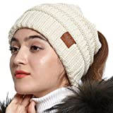 OMECHY Womens Knit Peruvian Beanie Hat Winter Warm Wool Crochet Tassel Peru Ski Hat Cap with Earflap Pom Beige