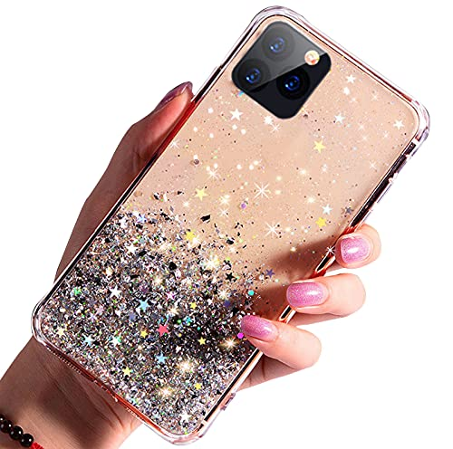 FOURTOC Bonita Funda Epoxi Brillante Compatible con iPhone 12 12 Pro 12 Pro MAX Gold Foil Sparkle Clear Glue TPU Funda Antirrayas A Prueba de Golpes,Clear,12 Pro
