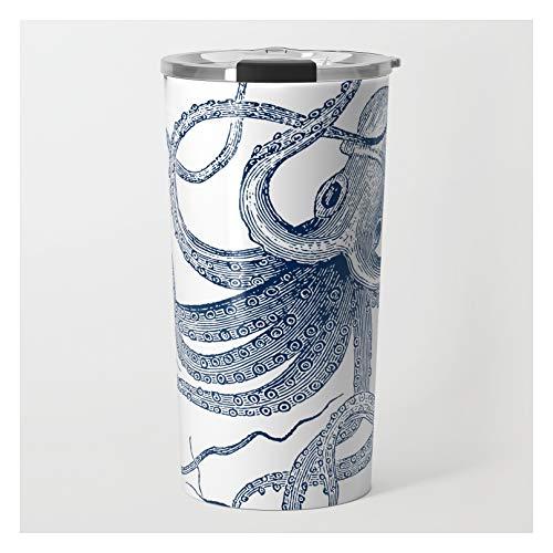 Blue Nautical Vintage Octopus Illustration by Artonwear on Travel Coffee Mug - 20 oz
