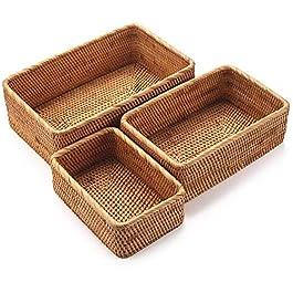 Panier de Rangement Rectangulaire en Rotin, Corbeille de Fruits en Osier, Organisateur Tressé Naturel pour Cuisine…