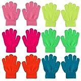 QKURT 6 Paar Magische Stretch Handschuhe,Voller Finger Kinder Handschuhe Warme Handschuhe für 5~13 Jahre alte Kinder Mädchen Jungen