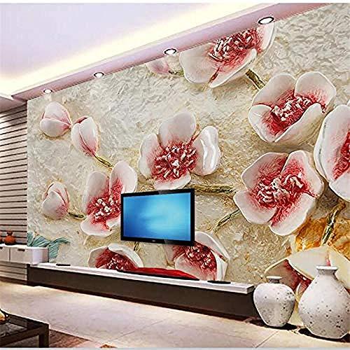 Papel de Parede Benutzerdefinierte Tapete Mode Harz Blumenrelief TV Hintergrundwand Europäische dekorative Malerei Tapete wandpapier fototapete 3d effekt tapeten Wohnzimmer Schlafzimmer-300cm×210cm