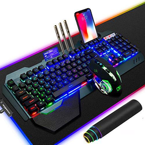 Tastiera mouse ricaricabile wireless 2.4G Set 3800mAh Tastiera gamer retroilluminata arcobaleno ad alta capacità 2400 DPI mouse 6 pulsanti Mouse ottico Mouse pad gaming RGB di grandi dimensioni