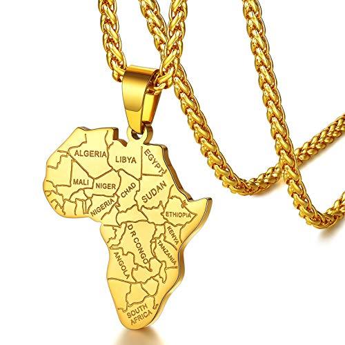 Mapa de Africa Collar Hombre Mujer Colgante Acero Inoxidable 316L Joyerías Misteriosas Talismán de Protección para Familia
