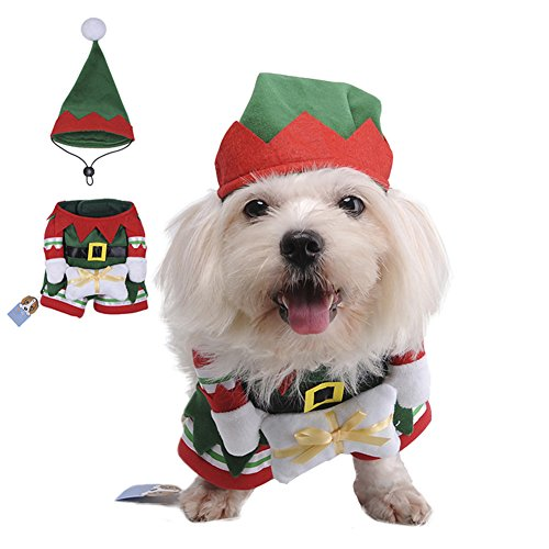 Disfraz de elfo Awhao, gorro y abrigo, para gato, cachorro,...