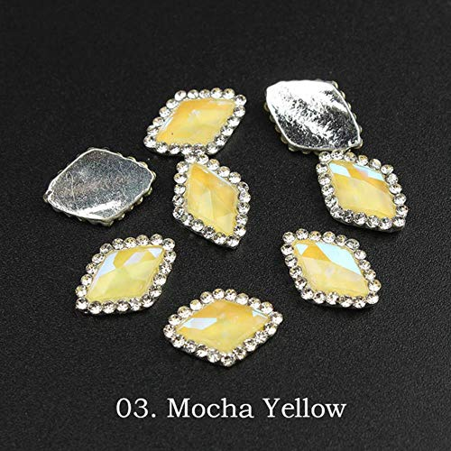 Mokka Diamant Tropfenform Diamant Kristall Rhinstone für Nägel Metall Schmuck 3D Nailart DIY Charms, Gelb Rhombus Mokka Silber Kralle