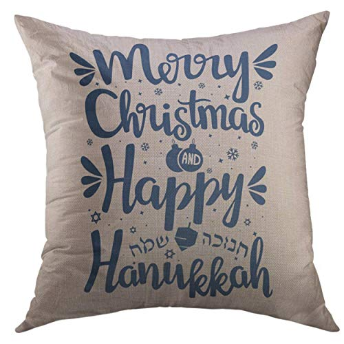 Mugod Decorative Throw Pillow Cover Festival Hand Written Lettering Text Happy Hanukkah Merry Christmas Hanuka Home Decor Pillow Case 18x18 inch