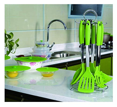 6 Stuks Premium Roestvrij Staal En Siliconen Hittebestendig Kookgerei Set Hoge Kwaliteit Keukengerei Green,Green
