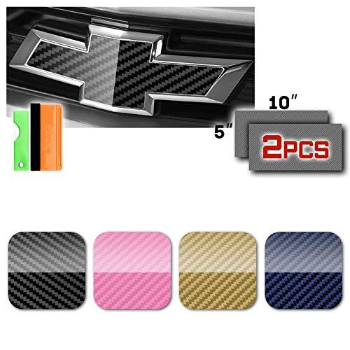 "EZAUTOWRAP Free Tool Kit 2Pcs 5""x10"" Chevy Emblem Bowtie 5D High Gloss Pink Carbon Fiber Vinyl Wrap Sticker Decal Film Sheet"