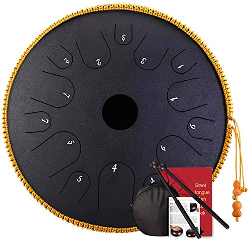 PIAOLIGN Tamburo in Acciaio, Tambores de la Mano de la Lengua de Acero de 14 Pulgadas Tambores de Mano Mayor 14 Notas TARNOS TARNELES con Bolsa, Instrumento de percusión (Color : Black)