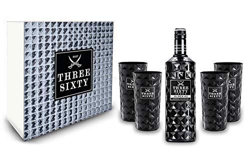 Three Sixty Set Geschenkset - Three Sixty Black Vodka Wodka 0,7L 700ml (42% Vol) + 4x Black Gläser eckig Longdrink Gläser Glas - Kristall Glas Schwarze Edition [Enthält Sulfite]