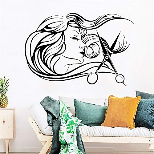 Tianpengyuanshuai Beauty Salon Wandtattoo Friseur Friseur Werkzeuge Schere Friseur Wandaufkleber Vinyl 85X93cm