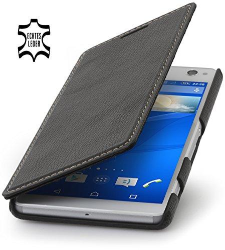 StilGut Book Type Hülle ohne Clip, Hülle aus Leder für Sony Xperia C4, schwarz