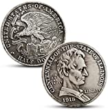 Wjtence 1918 American Illinois Centennial Lincoln Portrait Half Dollar Silver Coin 50 Cent Coin Foreign Coin-A81-Original Light -A23-antique_Style Copy Ornaments Collection Gifts