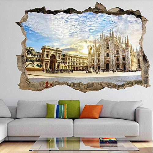 OMCCXO Adhesivo de Pared Poster 3D Art Stickers Vinilo Duomo Cathedral Italy Niños Dormitorios Bebé Guardería Sala de Estar Niños Niñas 12x20inch(30x50cm)