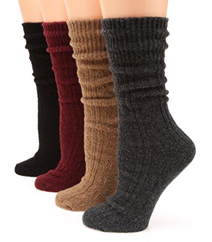 MIRMARU M113 Women's Premium Winter 4 Pairs Wool And Cotton Blend Crew Socks Collection (Charcoal,Camel,Burgundy,Black),Medium / Shoe Size:6-9.