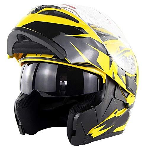 Changanfengkuo Reithelm Adult Double Lens Motorradhelm Sicherheit Atmungsaktiv Bequemer Helm 3D Futter - Day Eye Yellow Dauerhaft (Size : XL)