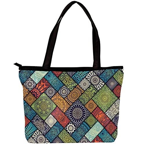 FuJae Bolsos de hombro de la bolsa de asas de la lona de las mujeres Mandala patrón floral Bolsa de playa Bolsa de compras para uso diario en viajes de trabajo