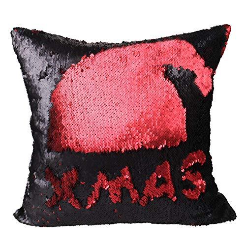 Luxbon Rossa e Nera Federa per Cuscino Con Reversibili Paillettes Decorativo per Casa Divano Sedia Stanza Letto 40 x 40 cm