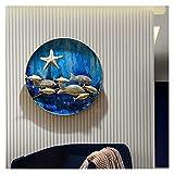 YLJYJ Arte de Pared con decoración de Entrada de Metal Redondo - Pared de Metal con Peces de océano 3D - Decoración de Pared Colgante Hecha a Mano, Contemp Suave y Duradero (Arte de Pared)