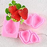FGHHT 1/2 Uds Fresa Silicona Pastel Fondant Molde DIYHerramientas de repostería para Hornear Accesorios de Cocina