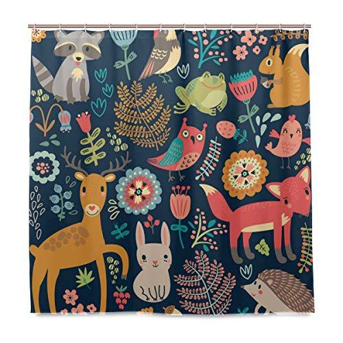 Wamika Eule Kaninchen Vogel Fuchs Badezimmer Duschvorhang Liner, Wald Tiere & Blumen Design Durable Stoff Schimmelresistent Wasserdicht Badewanne Vorhang mit 12 Haken 183,0 cm x183,0 cm